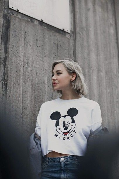 Top: tumblr white mickey mouse disney white crop s crop s blonde hair hairstyles short hair 90s