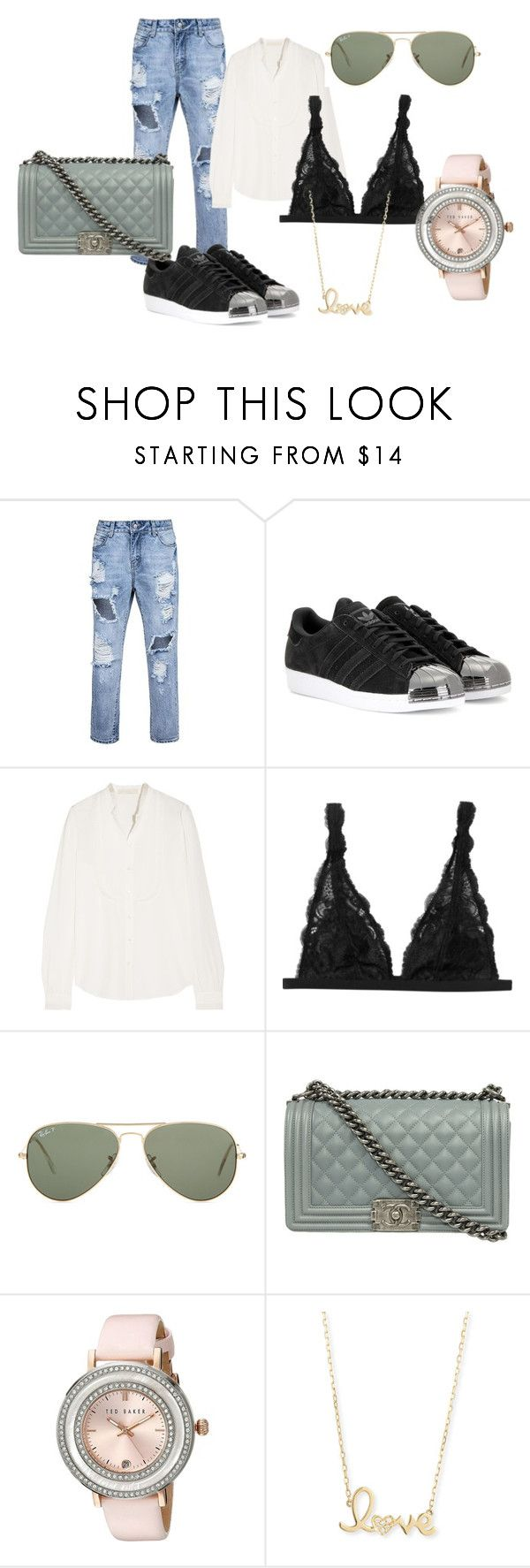 """date..."" by ve-safarova on Polyvore featuring adidas, Vanessa Bruno, Monki, Ray-Ban, Ted Baker, Sydney Evan, women's clothing, women, female and woman"