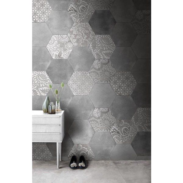 Faber Moroccan 10 In X 12 In Decorative Silver Hexagon Porcelain Floor Tile Lowe S Canada In 2020 Tile Floor Porcelain Flooring Porcelain Floor Tiles