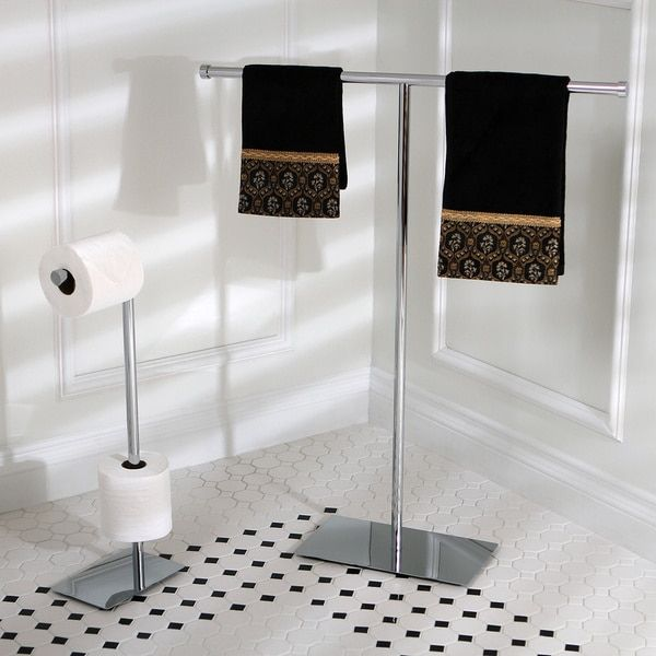 Modern Freestanding Polished Chrome Bathroom Accessories - 16113281 - Overstock.com Shopping - The Best Prices on Kingston Brass Towel Holders