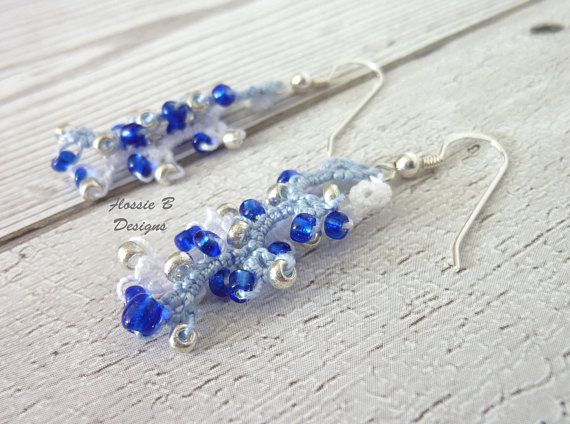 Beaded tatted earrings blue and white drop earrings boho