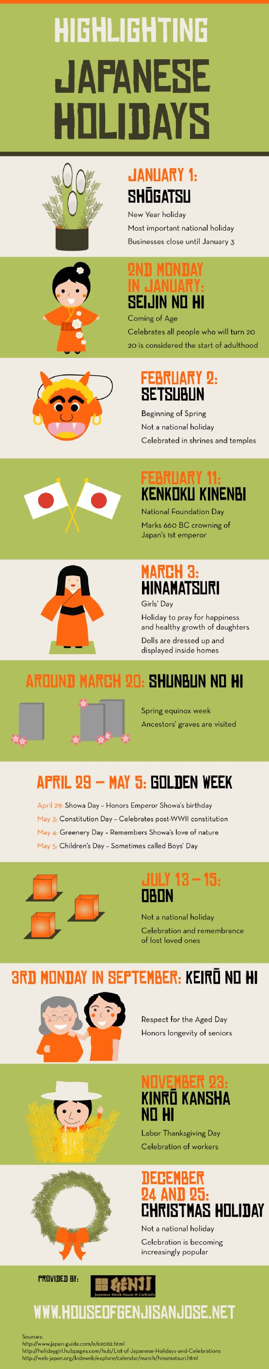 Highlighting Japanese Holidays - Infographic || by House of Genji, San Jose, California, USA