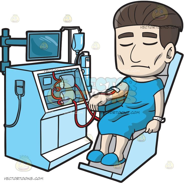 A Male Patient Undergoing A Dialysis Treatment :  A male patient with sleek black hair wearing a blue hospital dress blue slippers sitting on a blue chair with tubes connected to his right arm as he goes under a dialysis procedure  The post A Male Patient Undergoing A Dialysis Treatment appeared first on VectorToons.com.