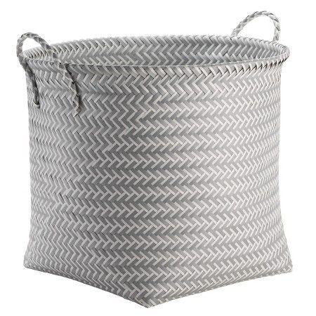 Large Round Woven Plastic Storage Basket - White and Grey - Room Essentials™ : Target 16.000 inches,H W 18.000 inches, D 18.000 inches