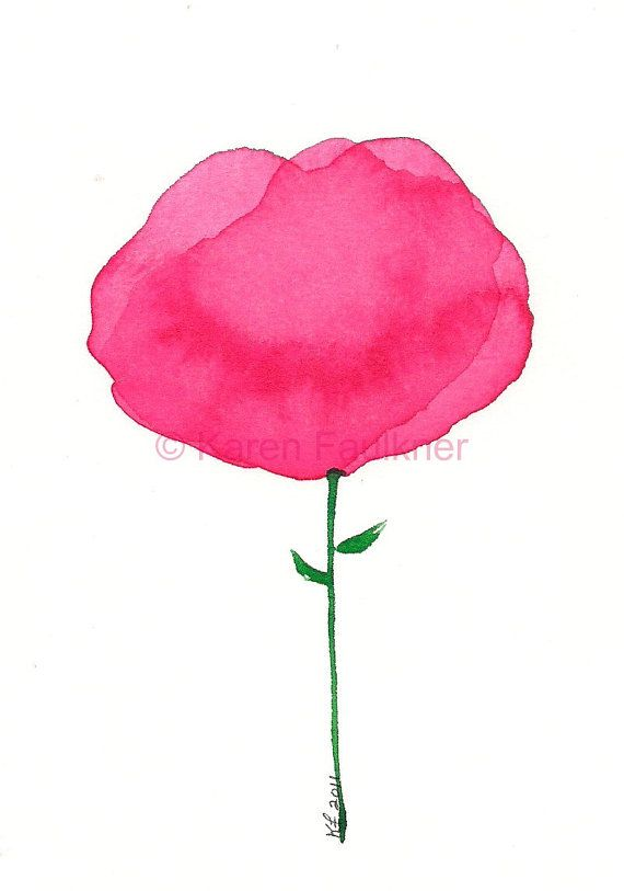 Rosy Posy pink watercolor flower giclee fine by karenfaulknerart, $15.00