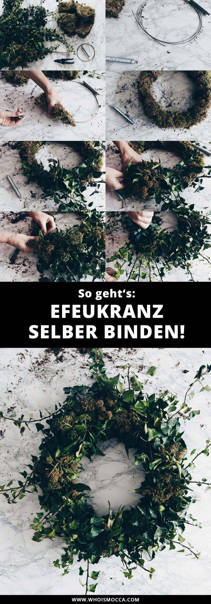 Efeukranz selber binden + 3 DIY Deko-Ideen für die Wohnung