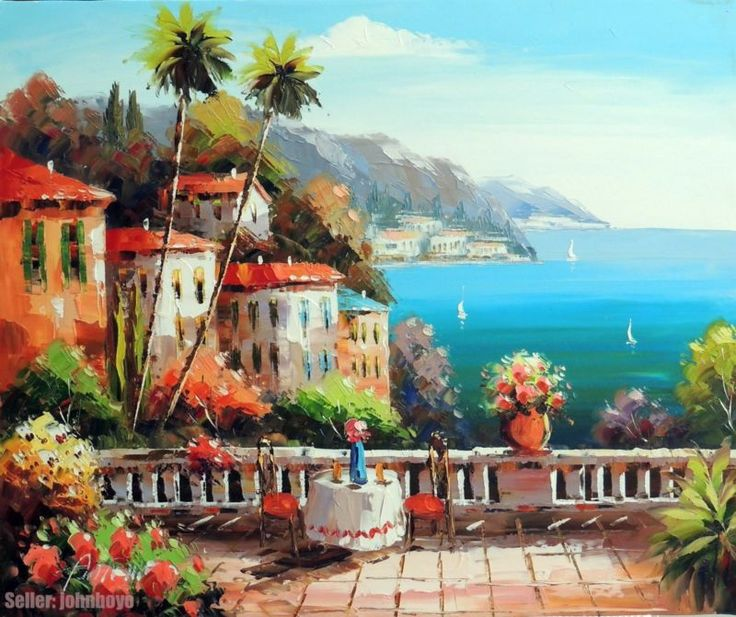 Painting Mediterranean Italy Beach Home Table For Two