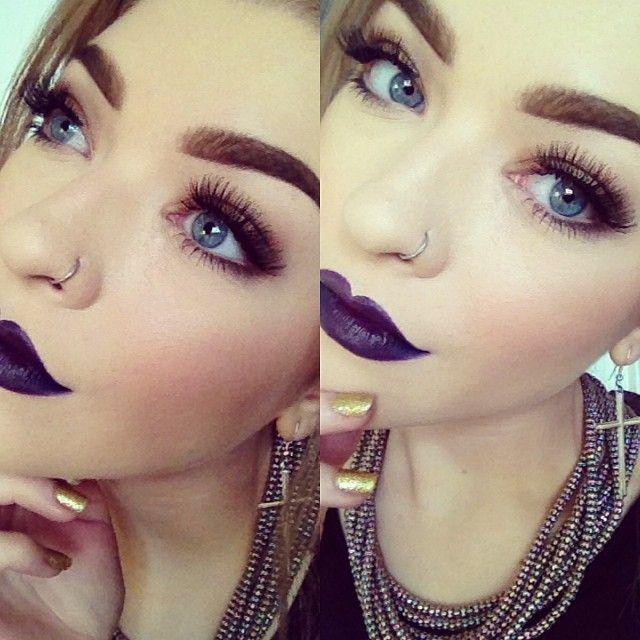 Beautiful Dark Purple Lips Makeup - Lashes - Nose Ring