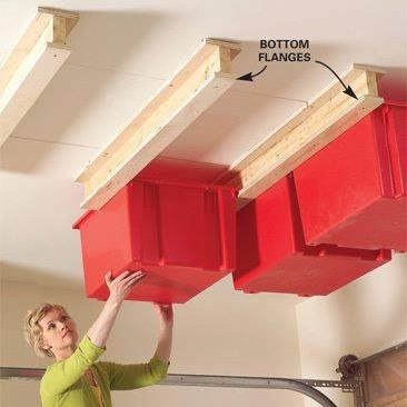 Unused ceiling can be put to good use.Storage Spaces, Organic, Good Ideas, Holiday Decorations, Storage Bins, Ceilings Storage, Garage Storage, Storage Ideas, Garages Storage