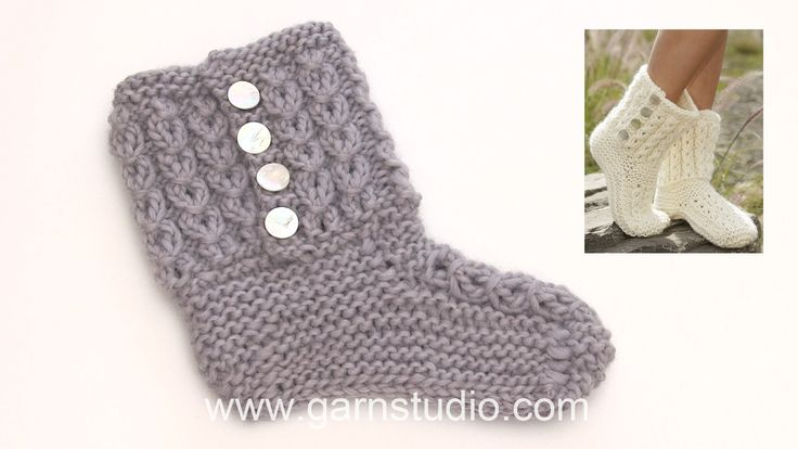 How to knit the slippers in DROPS 178-5