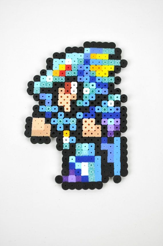 Final Fantasy IV Kain Perler Bead Magnet by TheCraftyChimera