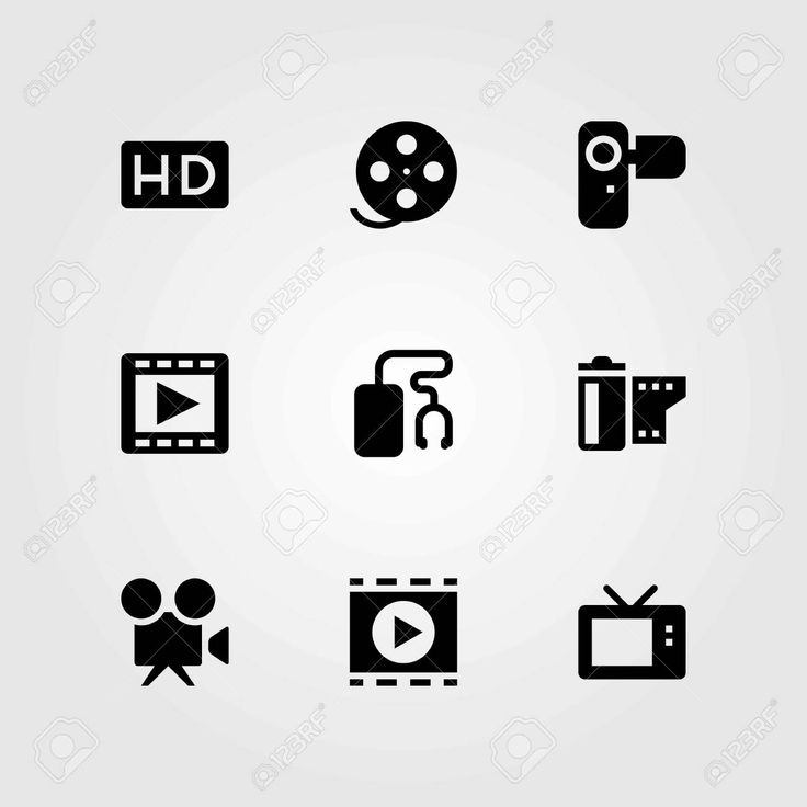Technology vector icons set. movie player, camcoder and video camera , #AFFILIATE, #icons, #set, #Technology, #vector,