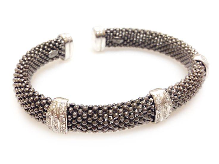 An Italian Charcoal Mesh Cuff with diamante detail.