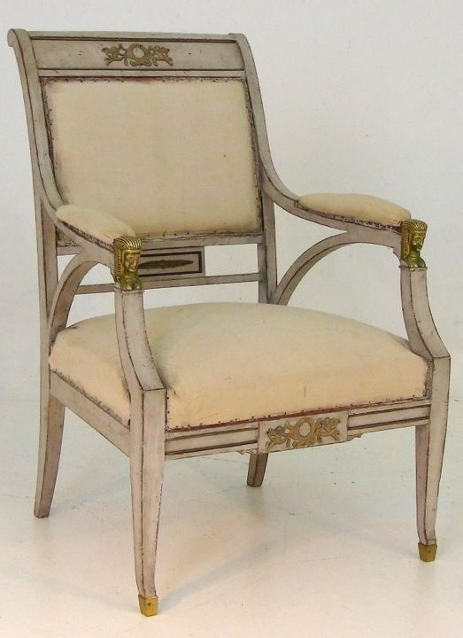 Gustavian style armchair, bronze mounted, 19th C.  H. 96 Seat-H: 44 W. 63.5 D. 66 cm.  http://www.selected-antiques.dk/12361-1s-----gustavian-style-armchair-bronze-mounted-19th-c