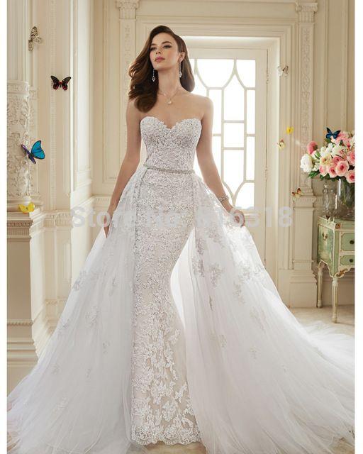 vestidos de novia viintage encaje sexy sirena vestido de boda con desmontable tren de