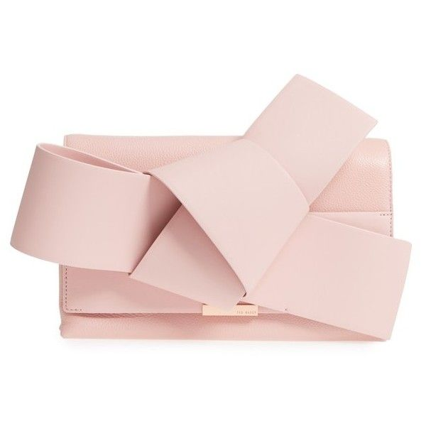 Women's Ted Baker London Knotted Bow Leather Clutch ($349) ❤ liked on Polyvore featuring bags, handbags, clutches, light pink, pink clutches, bow purse, chain strap purse, light pink purse and genuine leather handbags