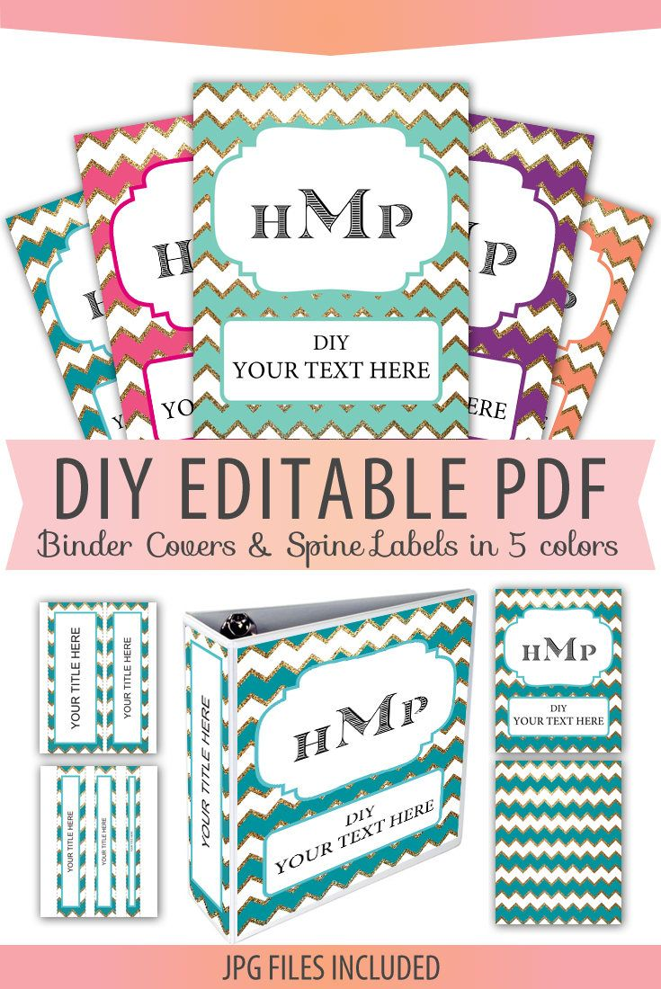 Editable Monogram Binder Cover & Spine Labels pdf, Letter Size, 5 pack, matching Back Cover, DIY Printable, plus JPG files, Instant Download