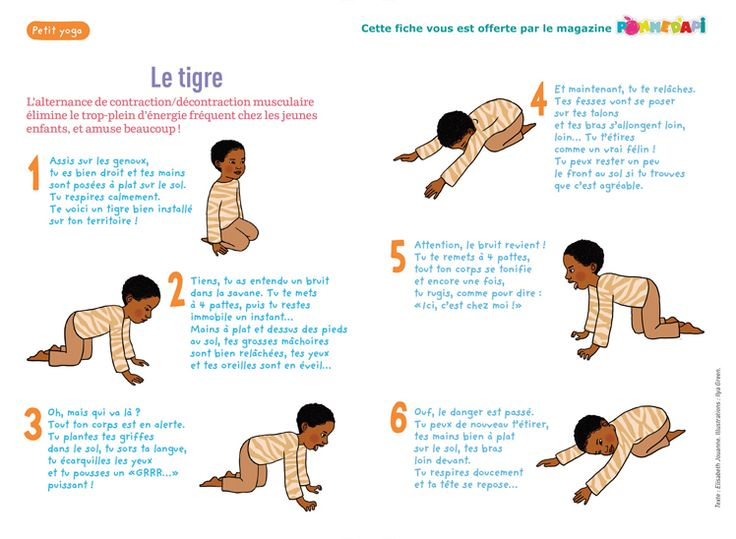 """""""Le petit yoga"""", supplément pour les parents du numéro de novembre 2014 de Pomme d'Api - Texte : Elisabeth Jouanne. Illustrations : Ilya Gre..."""