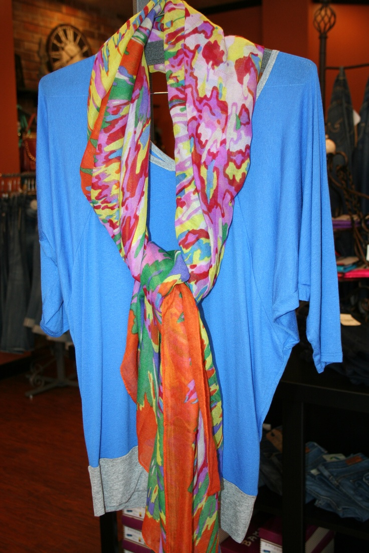 Tea n Rose pastel blue & grey tunic with key hole back mixed with a bright spring scarf.: Pastel Blue, Rose Pastel