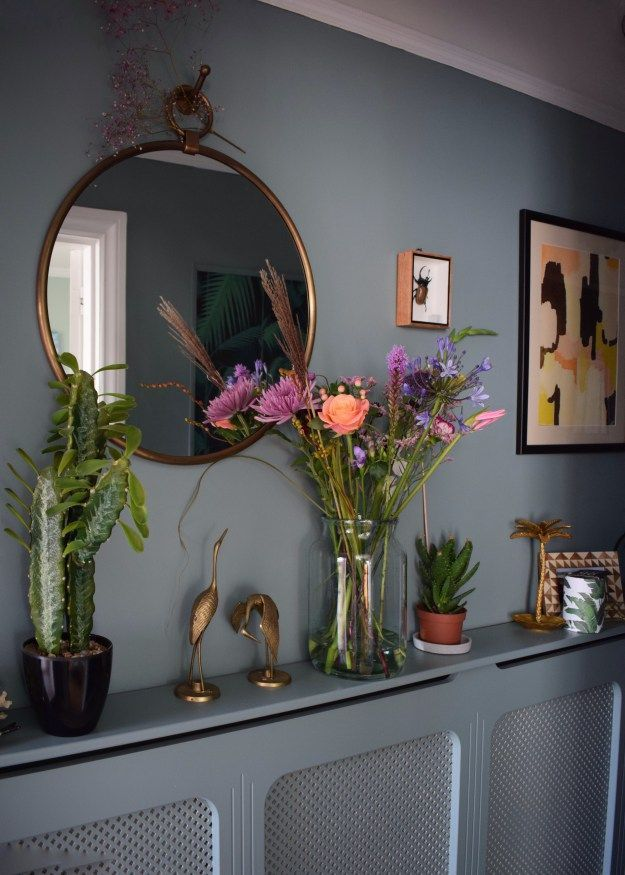 Home vintage bohemian eclectic style hallway interiors farrow ball Oval Room Blue faux cactus brass mirror