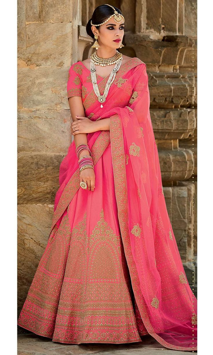 Shop this stunning Pink Bridal Wedding Lehenga (SKU Code : LEHJDSKIM411A) Online at IshiMaya Fashion.