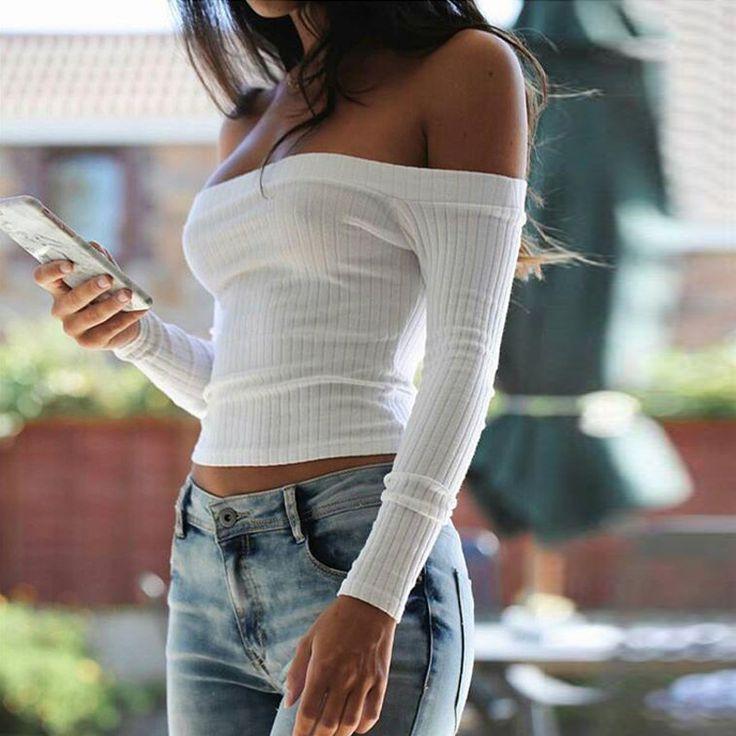 Autumn new 2017 off shoulder crop top t shirts