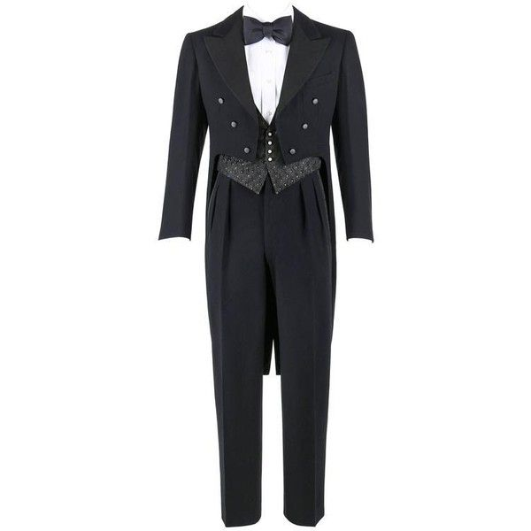 Preowned Moritz & Winter C.1932 3 Piece Formal Tailcoat Wool Silk... (1,905 CAD) ❤ liked on Polyvore featuring men's fashion, men's clothing, men's suits, 1930s, black, trouser pant suits, mens formal suits, vintage mens suits, vintage mens clothing and mens three piece suit