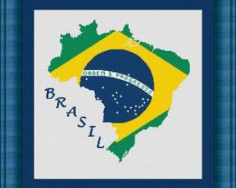 BRAZIL / BRASIL/bresil map-Counted cross stitch pattern /grille point de croix ,Cross Stitch PDF, Instant download , free shipping