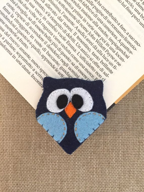 Owl bookmark. Soft felt accesories. Felt by IlMagicoMondodiGaia
