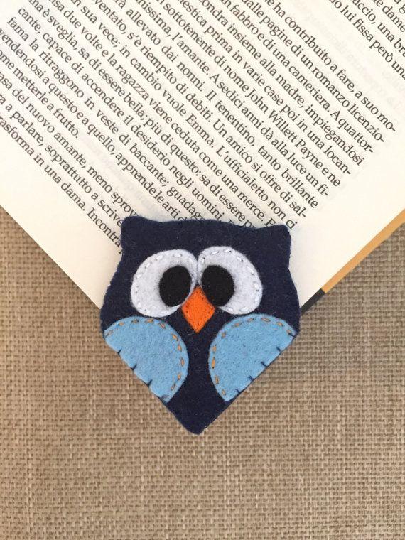 Segnalibro gufo in pannolenci. Accessori libri. Idea regalo per bambini. Fatto a mano.