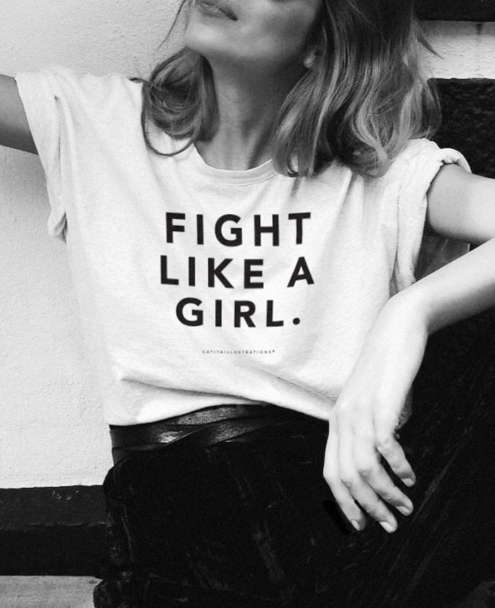 Fight Like A Girl T-Shirt via Catita Illustrations®. Click on the image to see more!