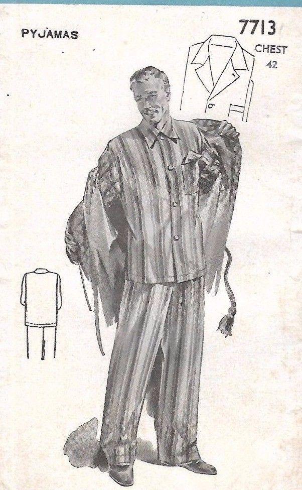 "Vintage 1950's Sewing Pattern Men's Pyjamas Chest 42"" RARE"
