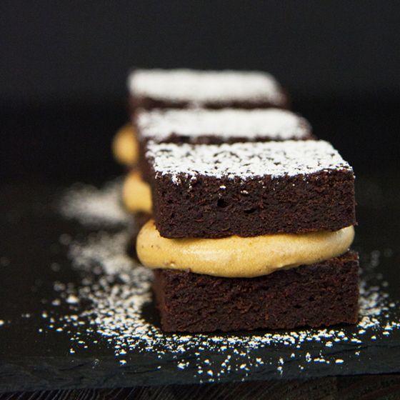 Chocolate petit four cakes with liquorice caramel cream