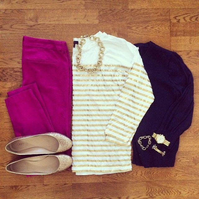 Gold Stripe Tee, Cardigan, Old Navy Pixie Pants, Glitter Flats | #workwear #officestyle #liketkit |  www.liketk.it/1jY8P | IG: @whitecoatwardrobe