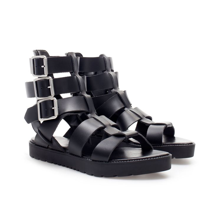 GLADIATOR SANDALS WITH BUCKLES - Flat sandals - Shoes - Woman - ZARA Philippines