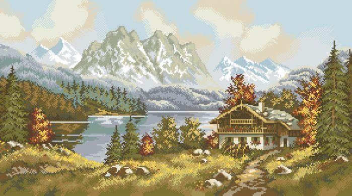 Рисунок на канве для вышивки нитками мулине 81613 Горный пейзаж