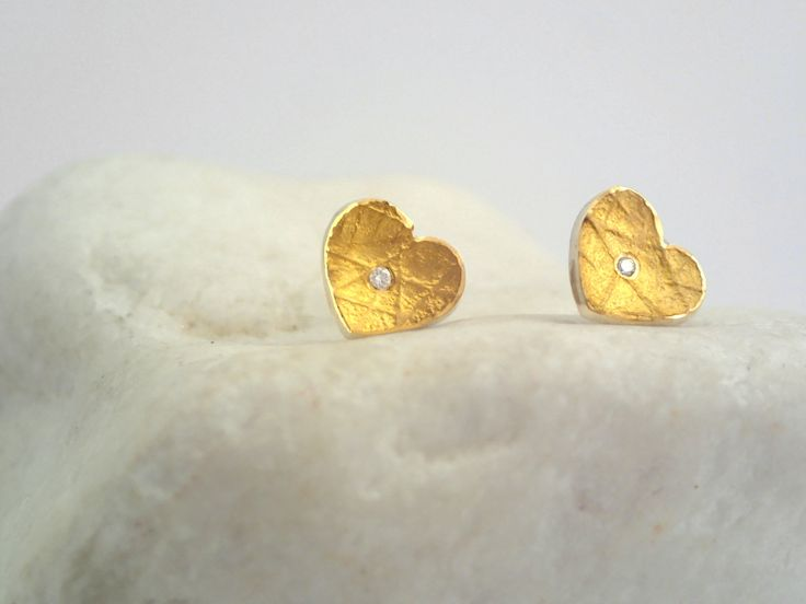 Minimal gold and oxidized silver heart earrings with a diamond and a hammered band. Gift for Valentine's day. by TomisCraft on Etsy