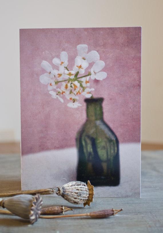 Blank greetings /notecard White Yarrow Flower by PaperSnapdragon, £2.00