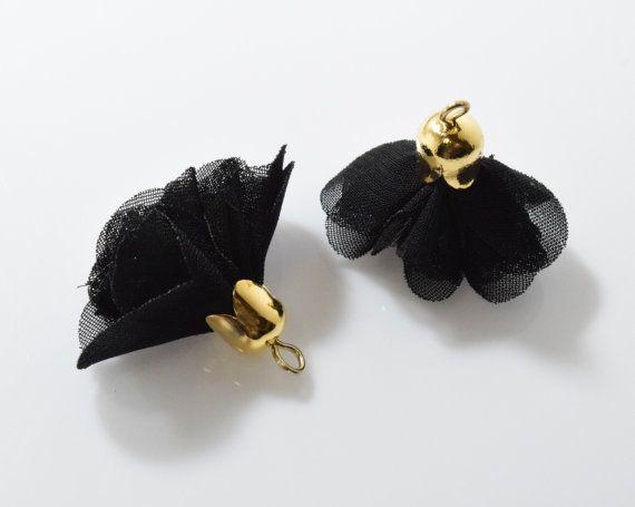 Jet Chiffon Tassel Pendant, Flower Tassel, Jewelry Craft Supply, Polished Gold - 2pcs / RG0036-PGJT