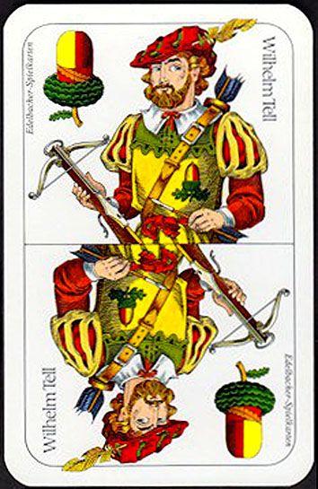 "deck ""Tell II pattern"" (36 cards), ""Spielkartenerzeugung Edelbacher Druck"" (Vienna, Austria), dimension 64x100  mm. - poker playing cards, deck of cards, card deck, unique playing cards, art of play cards, design play cards, cool playing cards, cardistry, jugando a las cartas, karty do gry, игральные карты, карты"