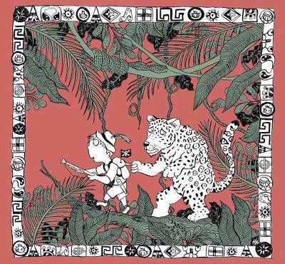carte de voeux personnalisée pour un garçon de 6 ans qui aime jouer à la guerre et les jaguars. Illustration d'Hélène Malric