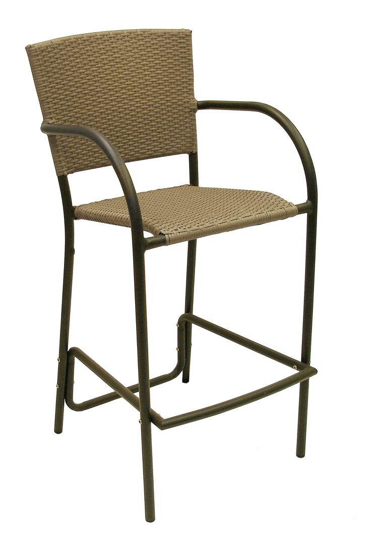 American Trading Company Aruba II All-Weather Wicker Barstool with Black Pepper Powder-Coated Aluminum Frame.
