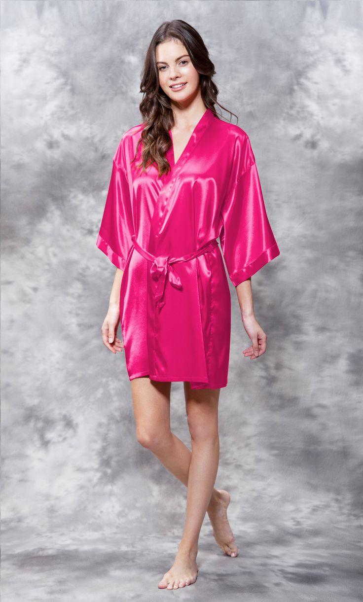 Premium Bathrobes :: Satin Robes :: Satin Kimono Fuchsia Short Robe - Wholesale bathrobes, Spa robes, Kids robes, Cotton robes, Spa Slippers, Wholesale Towels
