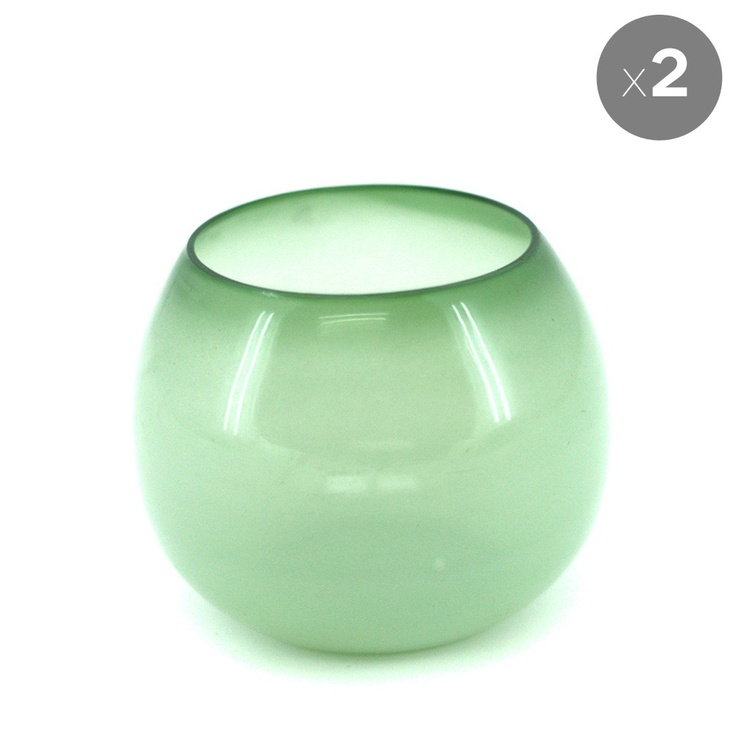 Set of 2 Lime Millie Tealight Votives - The Glass Menagerie - Temple & Webster presents