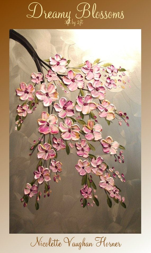 ORIGINAL Large 3ft x 2ft   gallery wrap canvas-Contemporary impasto  modern  abstract  floral painting by Nicolette Vaughan Horner
