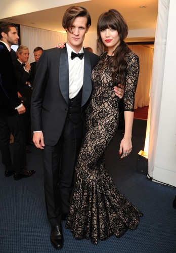 Daisy Lowe in a Jexika gown with Matt Smith at the GQ Awards