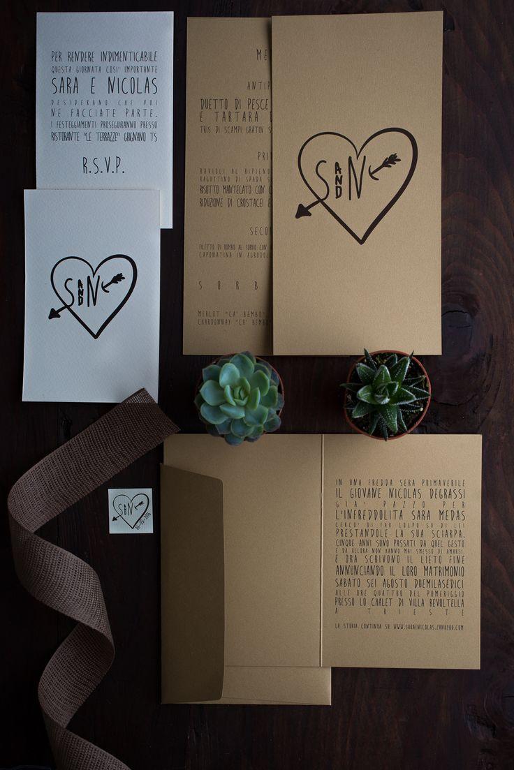 suite tipografica di matrimonio in carta kraft comprendente partecipazione, invito, menu e bigliettino dei confetti! #weddingstationery #partecipazioni #weddinginvite #tipografiamatrimonio