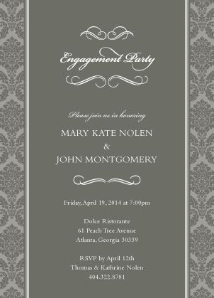 """Sophisticated Gray Engagement Party Invitation - """"Forever & Ever"""" - Designed by Lauren DiColli Hooke"""