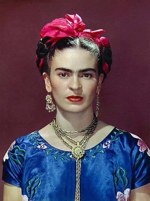 Frida Kahlo a Mexican Surrealist painter who has achieved international popularity. She typically painted self-portraits using vibrant colours in a style that was influenced by cultures of Mexico as well as influences from European Surrealism. Her self-portraits were often an expression of her life and her pain.