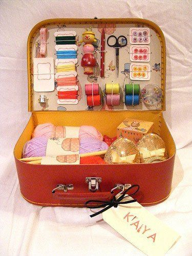 Super Special DIY Sewing Kit From A Suitcase | Apartment Therapy. Could be used to organize other crafts in the same way.
